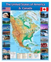 Стенд для кабинета английского языка с картой США и Канады